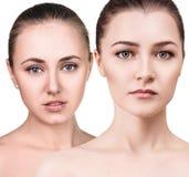 有健康清楚的皮肤的Cwo少妇 库存照片