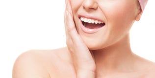 有健康牙的妇女 免版税库存照片