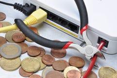有偿有限享用对互联网,债务付款 库存图片