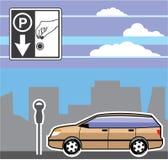 有偿的停车时间计时器汽车传染媒介 库存图片