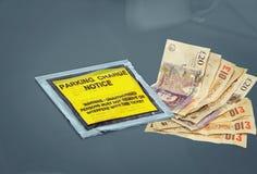 有偿的汽车停车处充电惩罚通知 免版税图库摄影