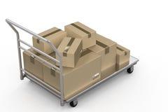 有储藏盒堆的台车  免版税图库摄影