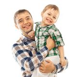有儿子的快乐的父亲 免版税图库摄影