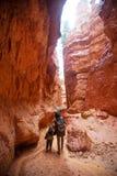 有儿子的母亲在布莱斯峡谷国立公园,犹他,美国步行 免版税图库摄影