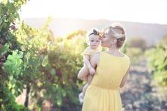 有儿童女孩的美丽的少妇葡萄的领域的 库存图片