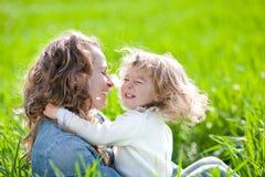 有儿童的乐趣妇女 库存照片