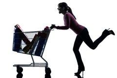 有充分的购物车剪影的妇女 免版税图库摄影