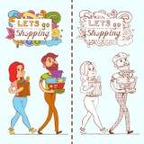 有充分的购物袋的愉快的乱画消费者在商店 库存图片
