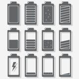 有充电的水平的电池。 库存图片