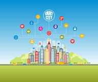 有先进的聪明的服务的聪明的城市,社会网络,事互联网  皇族释放例证