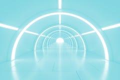 有光的抽象空的光亮的隧道在最后 3d例证 免版税库存图片