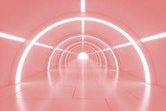 有光的抽象空的光亮的隧道在最后 3d例证 图库摄影