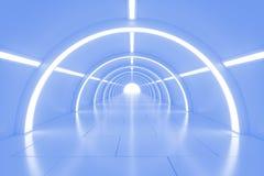 有光的抽象空的光亮的隧道在最后 3d例证 库存图片