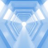 有光的抽象空的凉快的蓝色光亮的隧道在最后 3d回报 免版税图库摄影