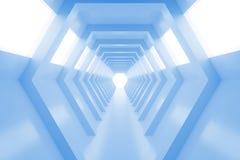 有光的抽象空的凉快的蓝色光亮的隧道在最后 3d回报 图库摄影