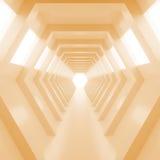 有光的抽象空的温暖的橙色光亮的隧道在最后 3d回报 免版税库存照片