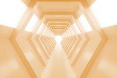 有光的抽象空的温暖的橙色光亮的隧道在最后 3d回报 库存例证