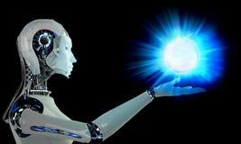 有光的机器人机器人妇女 免版税库存图片