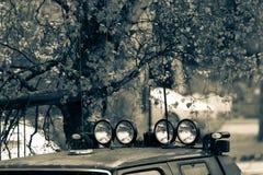 有光的汽车屋顶 免版税库存照片