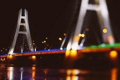 有光的高速公路桥梁 库存照片