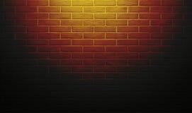 有光线影响和阴影的,抽象背景照片红色和黄色砖墙 图库摄影