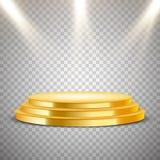 有光线影响的金黄圆的指挥台 图库摄影
