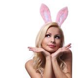 有兔宝宝耳朵的性感的妇女。 免版税图库摄影