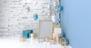 有党气球、礼物盒和纸袋的A现实室 图库摄影