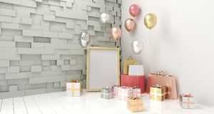 有党气球、礼物盒和纸袋的A现实室 免版税库存图片