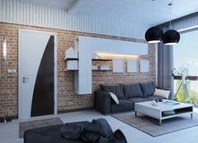 有全景的现代客厅 免版税库存图片