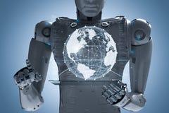 有全球性连接的机器人 免版税库存图片