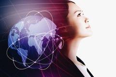 有全球网络概念的女实业家 库存照片