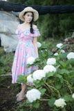 有八仙花属花的领域的美女 免版税库存照片