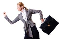 有公文包的女实业家 免版税库存图片