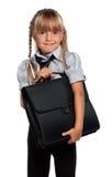 有公文包的小女孩 免版税库存图片