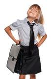 有公文包的小女孩 免版税库存照片