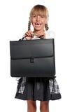 有公文包的小女孩 图库摄影