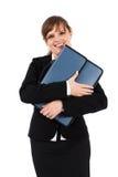 有公文包的愉快的女实业家 免版税图库摄影