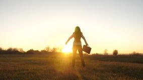 有公文包的自由的女商人在她的手上和在西装是成功在太阳明亮的光芒的日落  股票视频