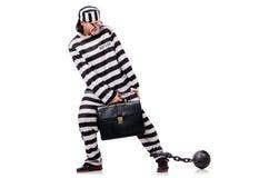 有公文包的滑稽的囚犯 库存图片