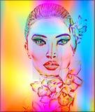 有兰花的美丽的女孩开花,摘要数字式艺术 免版税库存照片