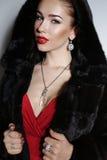 有典雅的发型的华美的肉欲的妇女,穿红色礼服和皮大衣 库存照片