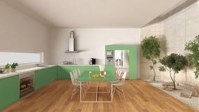 有内在庭院的,最小的内部desi白色和绿色厨房 库存照片