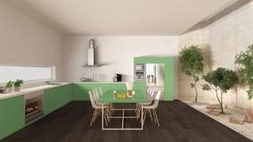 有内在庭院的,最小的内部desi白色和绿色厨房 库存图片