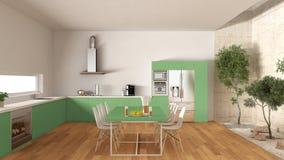 有内在庭院的,最小的内部desi白色和绿色厨房 免版税库存图片