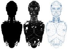 有内部技术传染媒介的女性妇女机器人 免版税图库摄影