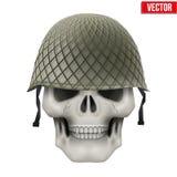有军事盔甲的人的头骨 免版税图库摄影