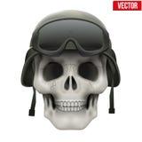 有军事盔甲的人的头骨 库存图片