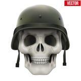 有军事盔甲的人的头骨 免版税库存照片