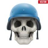 有军事联合国盔甲的人的头骨 免版税库存图片